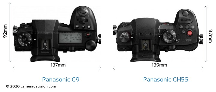 Panasonic G9 vs Panasonic GH5S Camera Size Comparison - Top View