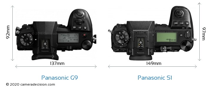 Panasonic G9 vs Panasonic S1 Camera Size Comparison - Top View