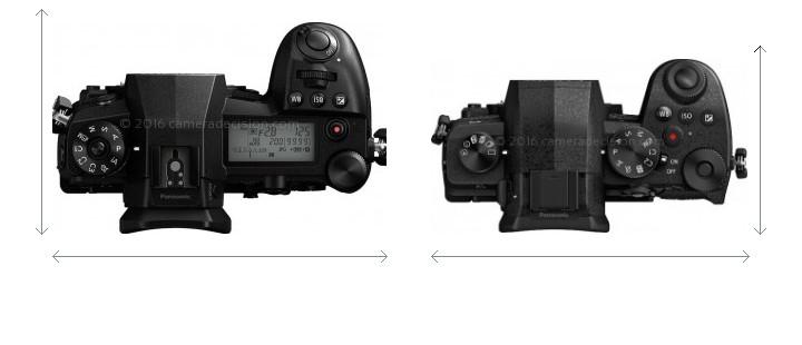 Panasonic G9 vs Panasonic G95 Camera Size Comparison - Top View