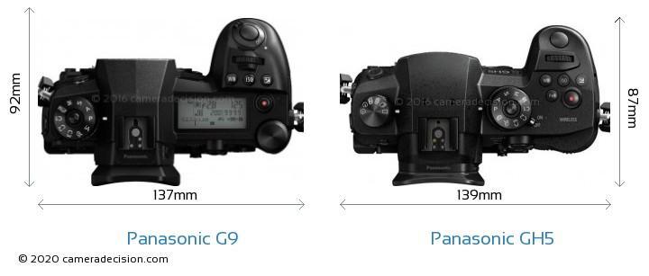 Panasonic G9 vs Panasonic GH5 Camera Size Comparison - Top View