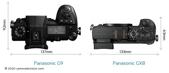 Panasonic G9 vs Panasonic GX8 Camera Size Comparison - Top View