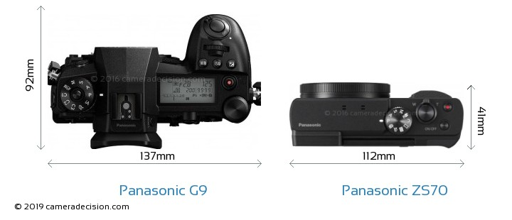 Panasonic G9 vs Panasonic ZS70 Camera Size Comparison - Top View