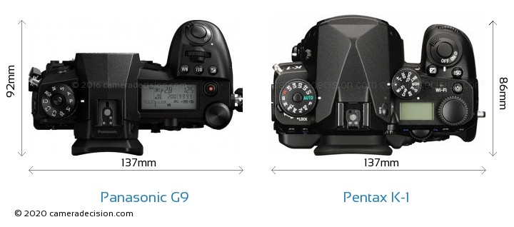 Panasonic G9 vs Pentax K-1 Camera Size Comparison - Top View