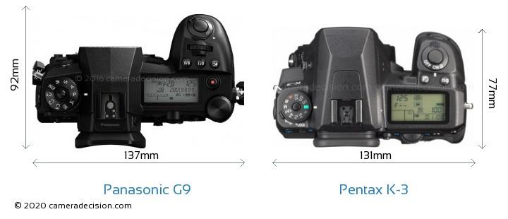 Panasonic G9 vs Pentax K-3 Camera Size Comparison - Top View