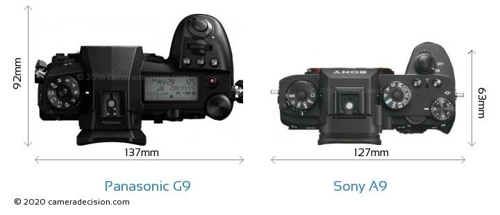Panasonic G9 vs Sony A9 Camera Size Comparison - Top View