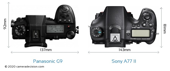Panasonic G9 vs Sony A77 II Camera Size Comparison - Top View