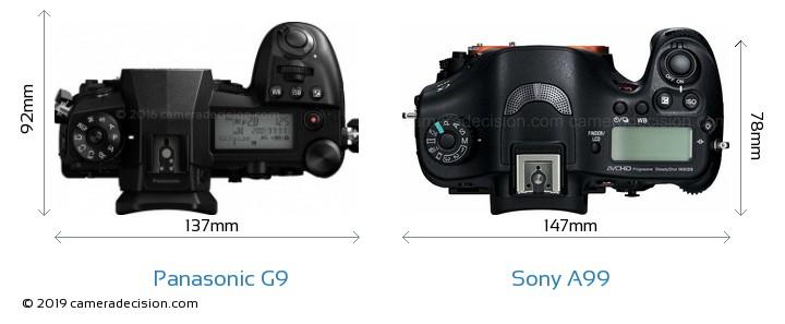 Panasonic G9 vs Sony A99 Camera Size Comparison - Top View