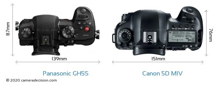 Panasonic GH5S vs Canon 5D MIV Camera Size Comparison - Top View