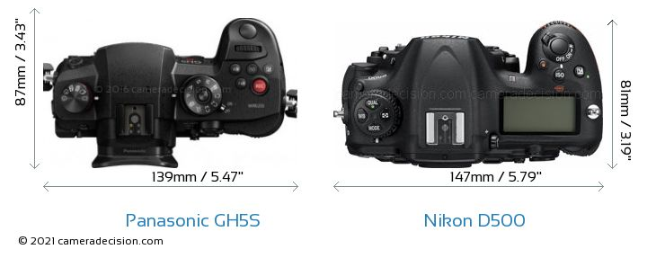 Panasonic GH5S vs Nikon D500 Camera Size Comparison - Top View