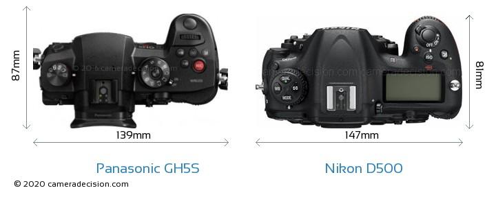 Panasonic GH5S vs Nikon D500 Camera Size Comparison - Top View