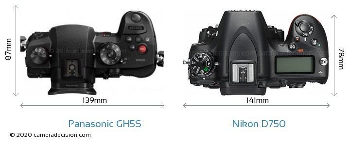 Panasonic GH5S vs Nikon D750 Camera Size Comparison - Top View