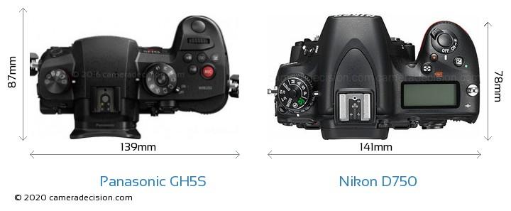 Panasonic GH5S vs Nikon D750 Camera Size Comparison - Top View
