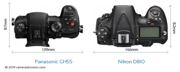 Panasonic GH5S vs Nikon D810 Camera Size Comparison - Top View
