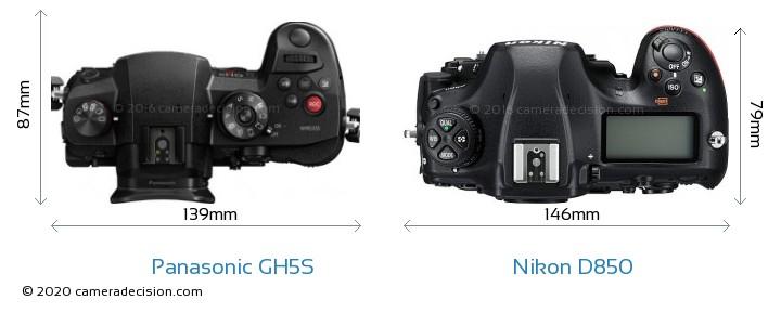 Panasonic GH5S vs Nikon D850 Camera Size Comparison - Top View