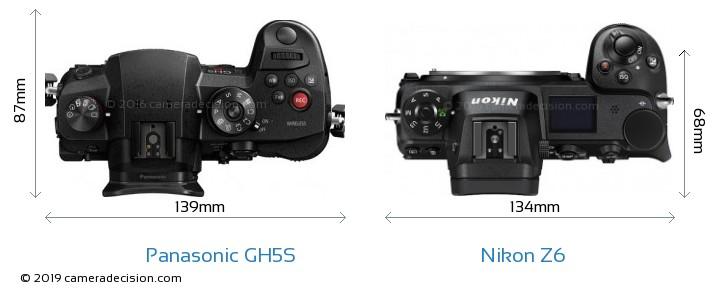 Panasonic GH5S vs Nikon Z6 Camera Size Comparison - Top View