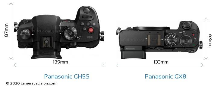 Panasonic GH5S vs Panasonic GX8 Camera Size Comparison - Top View