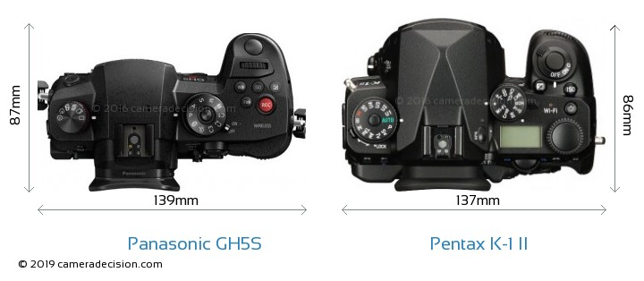 Panasonic GH5S vs Pentax K-1 II Camera Size Comparison - Top View