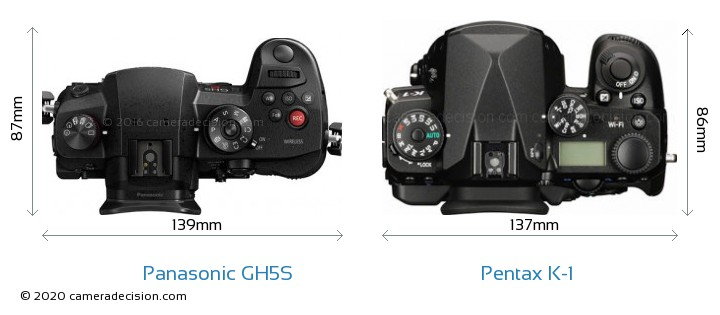 Panasonic GH5S vs Pentax K-1 Camera Size Comparison - Top View
