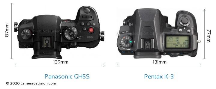 Panasonic GH5S vs Pentax K-3 Camera Size Comparison - Top View