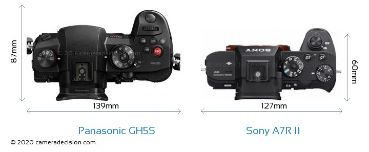 Panasonic GH5S vs Sony A7R II Camera Size Comparison - Top View
