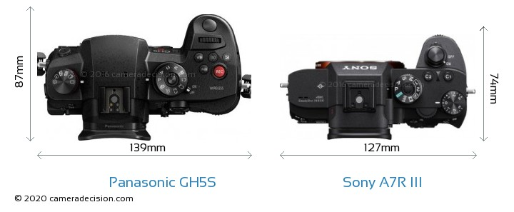 Panasonic GH5S vs Sony A7R III Camera Size Comparison - Top View