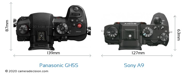 Panasonic GH5S vs Sony A9 Camera Size Comparison - Top View