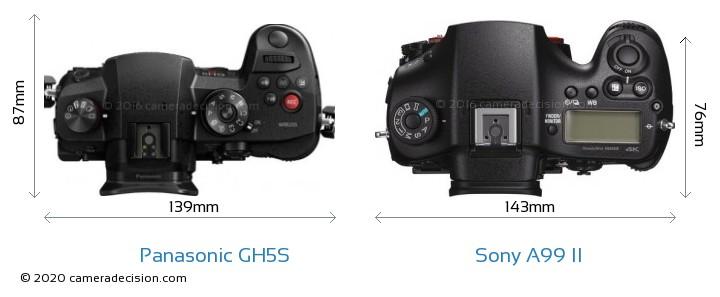 Panasonic GH5S vs Sony A99 II Camera Size Comparison - Top View
