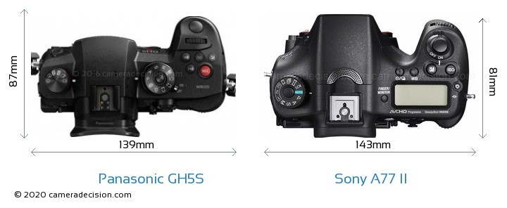 Panasonic GH5S vs Sony A77 II Camera Size Comparison - Top View