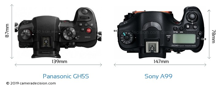 Panasonic GH5S vs Sony A99 Camera Size Comparison - Top View