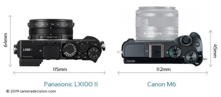 Panasonic LX100 II vs Canon M6 Camera Size Comparison - Top View