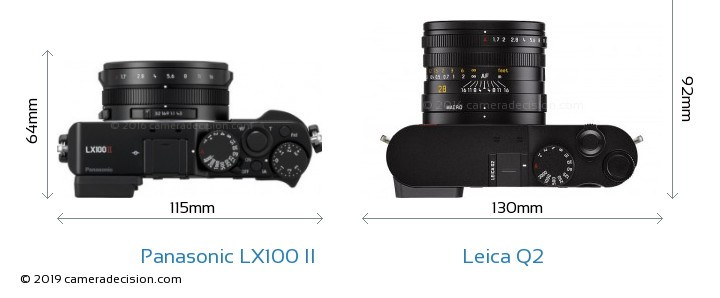 Panasonic LX100 II vs Leica Q2 Camera Size Comparison - Top View