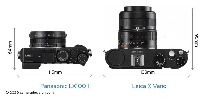 Panasonic LX100 II vs Leica X Vario Camera Size Comparison - Top View