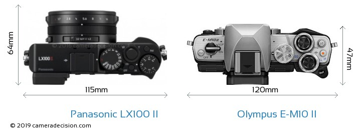 Panasonic LX100 II vs Olympus E-M10 II Camera Size Comparison - Top View
