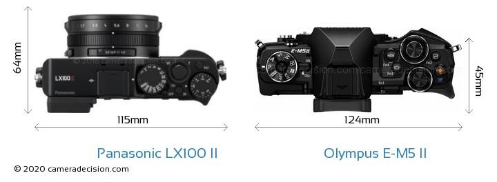 Panasonic LX100 II vs Olympus E-M5 II Camera Size Comparison - Top View