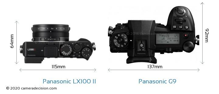 Panasonic LX100 II vs Panasonic G9 Camera Size Comparison - Top View