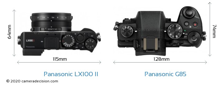 Panasonic LX100 II vs Panasonic G85 Camera Size Comparison - Top View