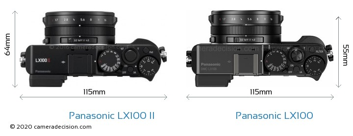 Panasonic LX100 II vs Panasonic LX100 Camera Size Comparison - Top View