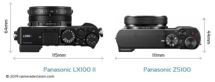Panasonic LX100 II vs Panasonic ZS100 Camera Size Comparison - Top View