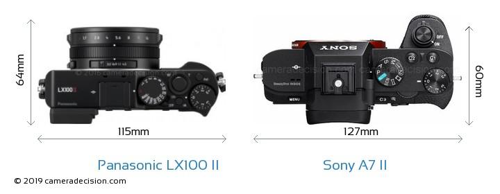 Panasonic LX100 II vs Sony A7 II Camera Size Comparison - Top View