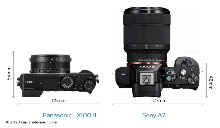 Panasonic LX100 II vs Sony A7 Camera Size Comparison - Top View