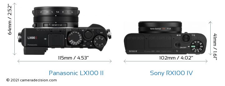Panasonic LX100 II vs Sony RX100 IV Camera Size Comparison - Top View
