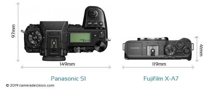 Panasonic S1 vs Fujifilm X-A7 Camera Size Comparison - Top View