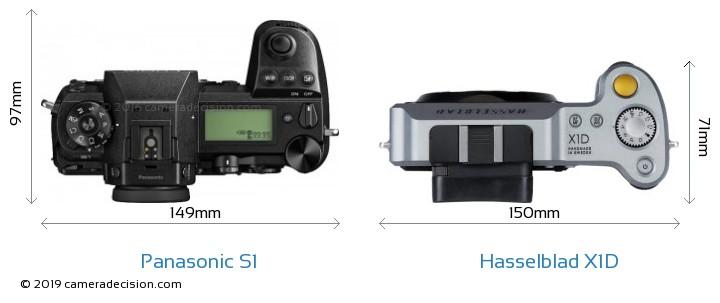 Panasonic S1 vs Hasselblad X1D Camera Size Comparison - Top View