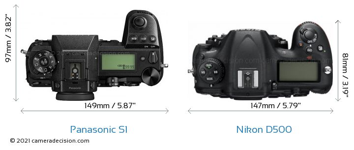 Panasonic S1 vs Nikon D500 Camera Size Comparison - Top View