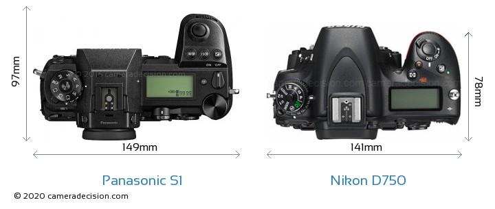 Panasonic S1 vs Nikon D750 Camera Size Comparison - Top View