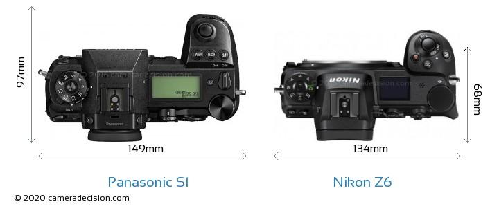 Panasonic S1 vs Nikon Z6 Camera Size Comparison - Top View