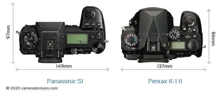 Panasonic S1 vs Pentax K-1 II Camera Size Comparison - Top View