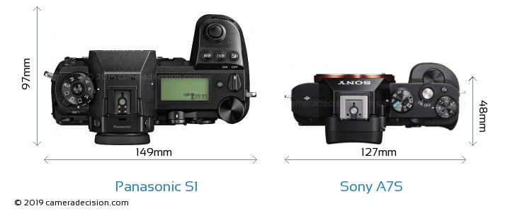Panasonic S1 vs Sony A7S Camera Size Comparison - Top View