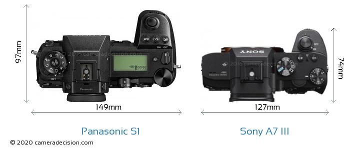Panasonic S1 vs Sony A7 III Camera Size Comparison - Top View