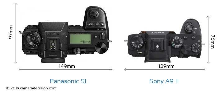 Panasonic S1 vs Sony A9 II Camera Size Comparison - Top View